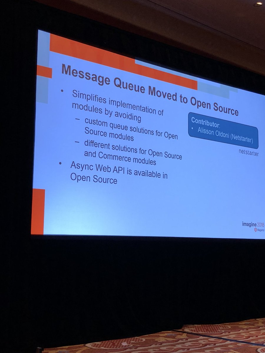 WebShopApps: Message queue support now available in open source #magento (ce) 2.3 #MagentoImagine https://t.co/M09J3ZJCRB