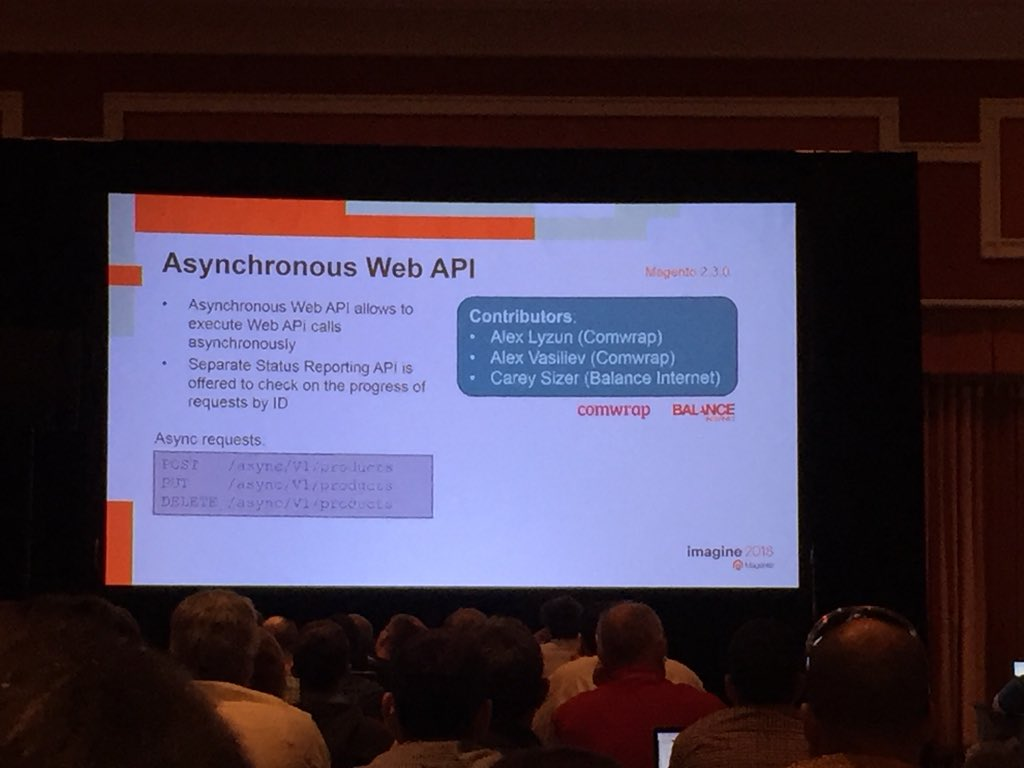vrann: Asynchronous APIs in 2.3, community contribution by @comwrap and @balanceinternet @buskamuza #MagentoImagine https://t.co/CGuM3VUaLY