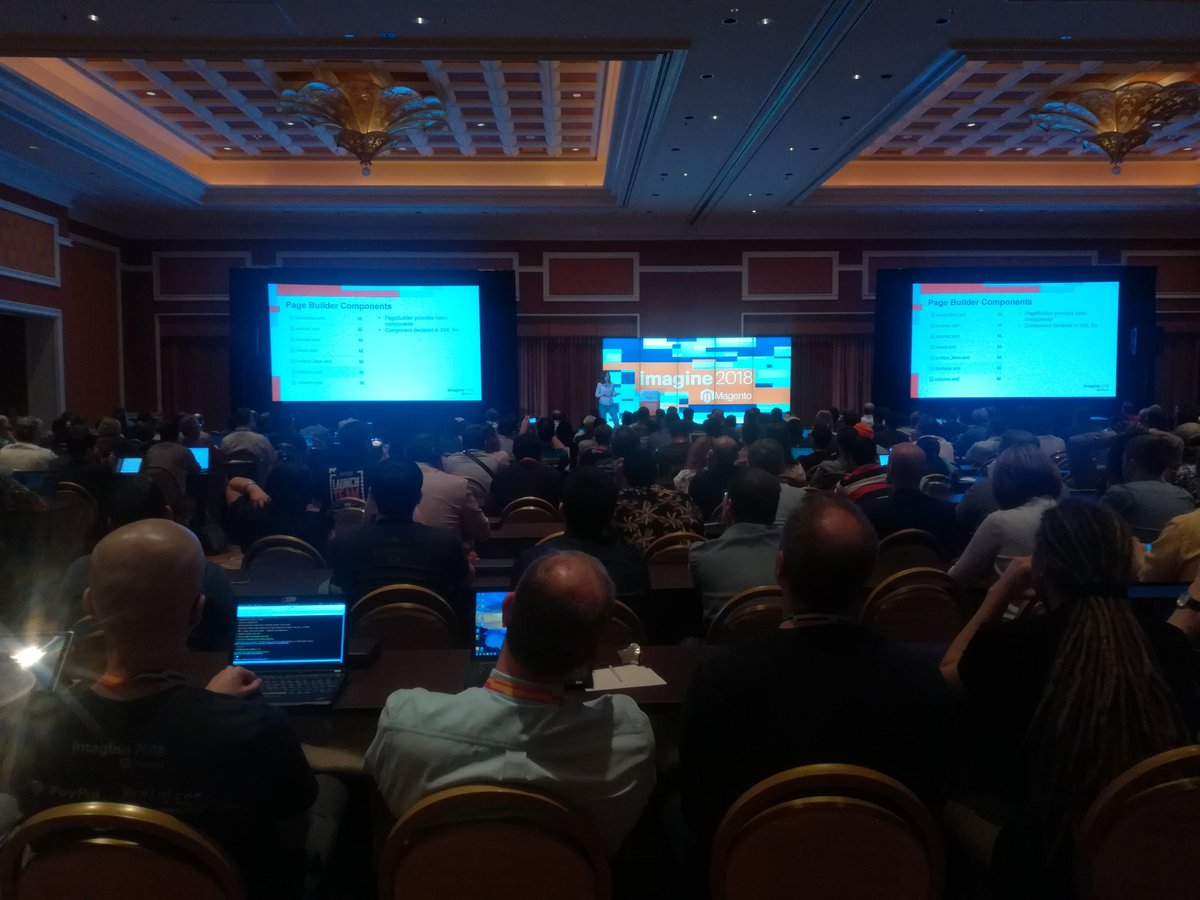 mannersd: A full room for @buskamuza and the new stuff coming up with 2.3 #MagentoImagine https://t.co/vo8okWlczt