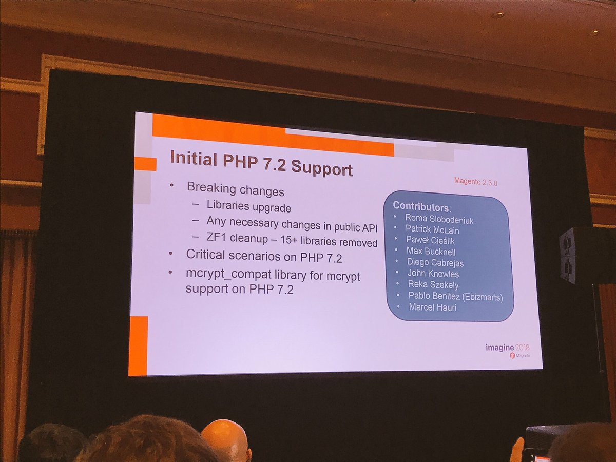 wearejh: Great to see so many JH names on screen for contributing to PHP7.2 support for @Magento 2.3 #MagentoImagine https://t.co/YT48WV8iC0