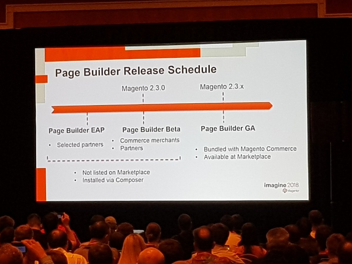 mgeoffray: Magento Page Builder release schedule for 2.3 version #MagentoImagine #MagentoImagine2018 #Imagine2018 #Magento https://t.co/mq7DtE41AM