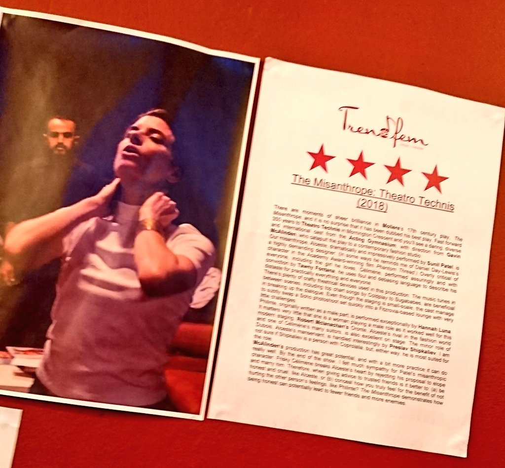 test Twitter Media - Oh, how lovely it was to see my review of #TheMisanthrope on the wall of @TheatroTechnis's foyer.  #actinggymnasium https://t.co/9dhbLcIGZT