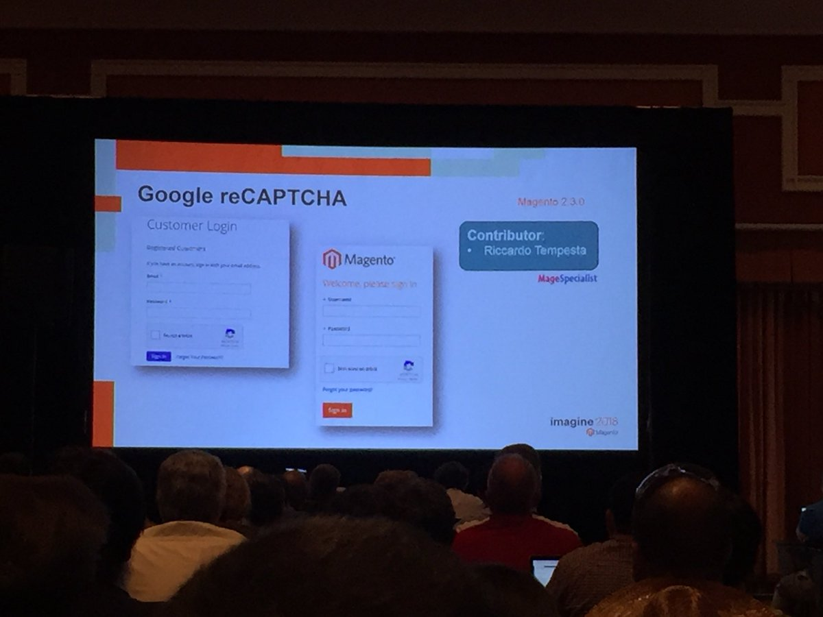 vrann: Security features ReCaptcha and 2FA contributed to 2.3 by @magespecialist @buskamuza #MagentoImagine https://t.co/graSEJte2X