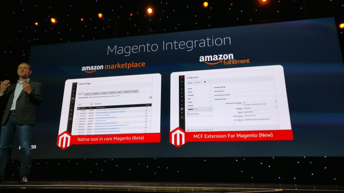 midimarcus: Amazon marketplace and fulfillment will be integrated in #magento #MagentoImagine @magespecialist https://t.co/GcLRH47MW7