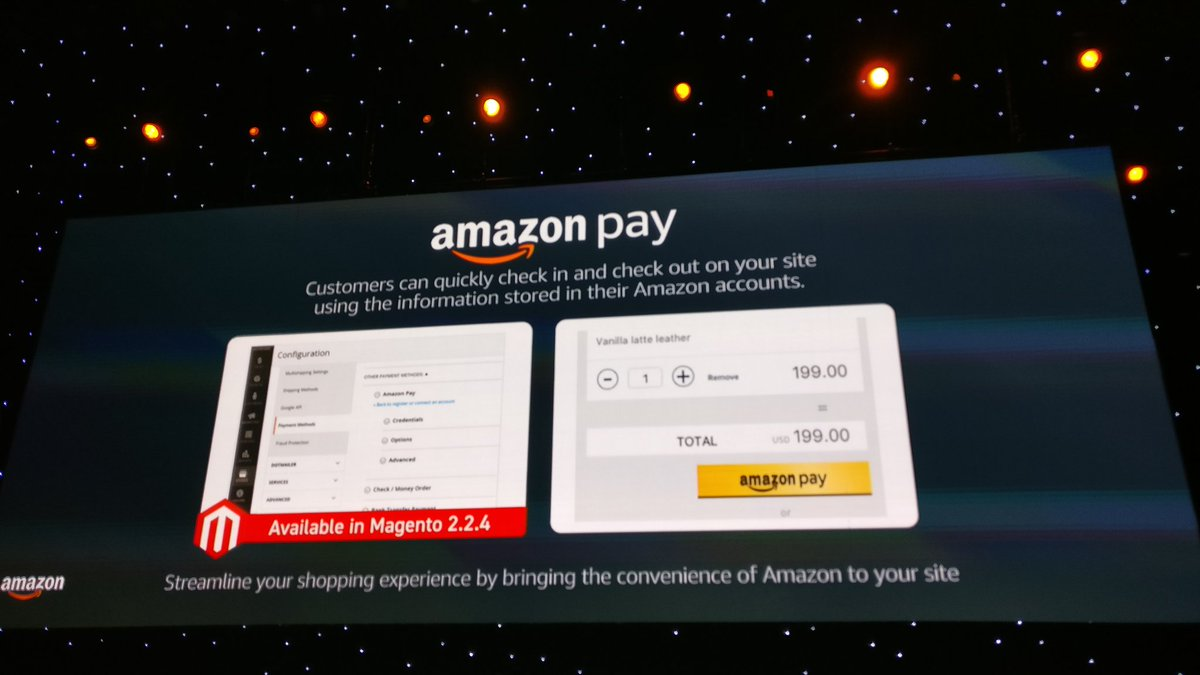 midimarcus: And Amazon Pay will be soon available in #magento 2.2.4! #MagentoImagine @magespecialist https://t.co/bx7qUi2e9g