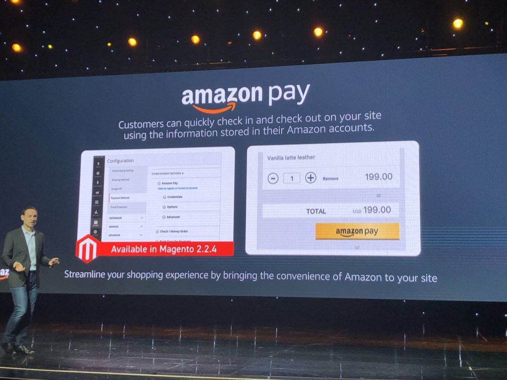 alexanderdamm: In Magento 2.2.4 there will be amazonpay core integration available #Magento #MagentoImagine https://t.co/gL8qCaJYew