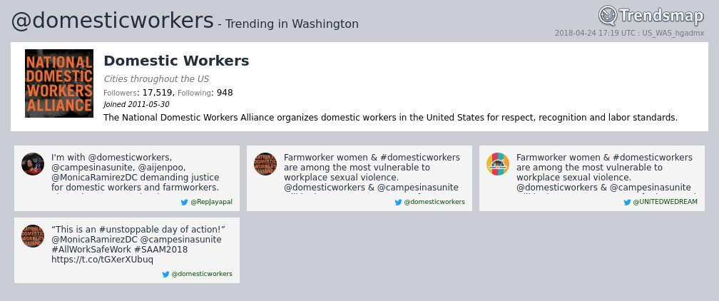 Domestic Workers, @domesticworkers is now trending in #DC  https://t.co/wz4kLIVkC9 https://t.co/fkyqTV9iat