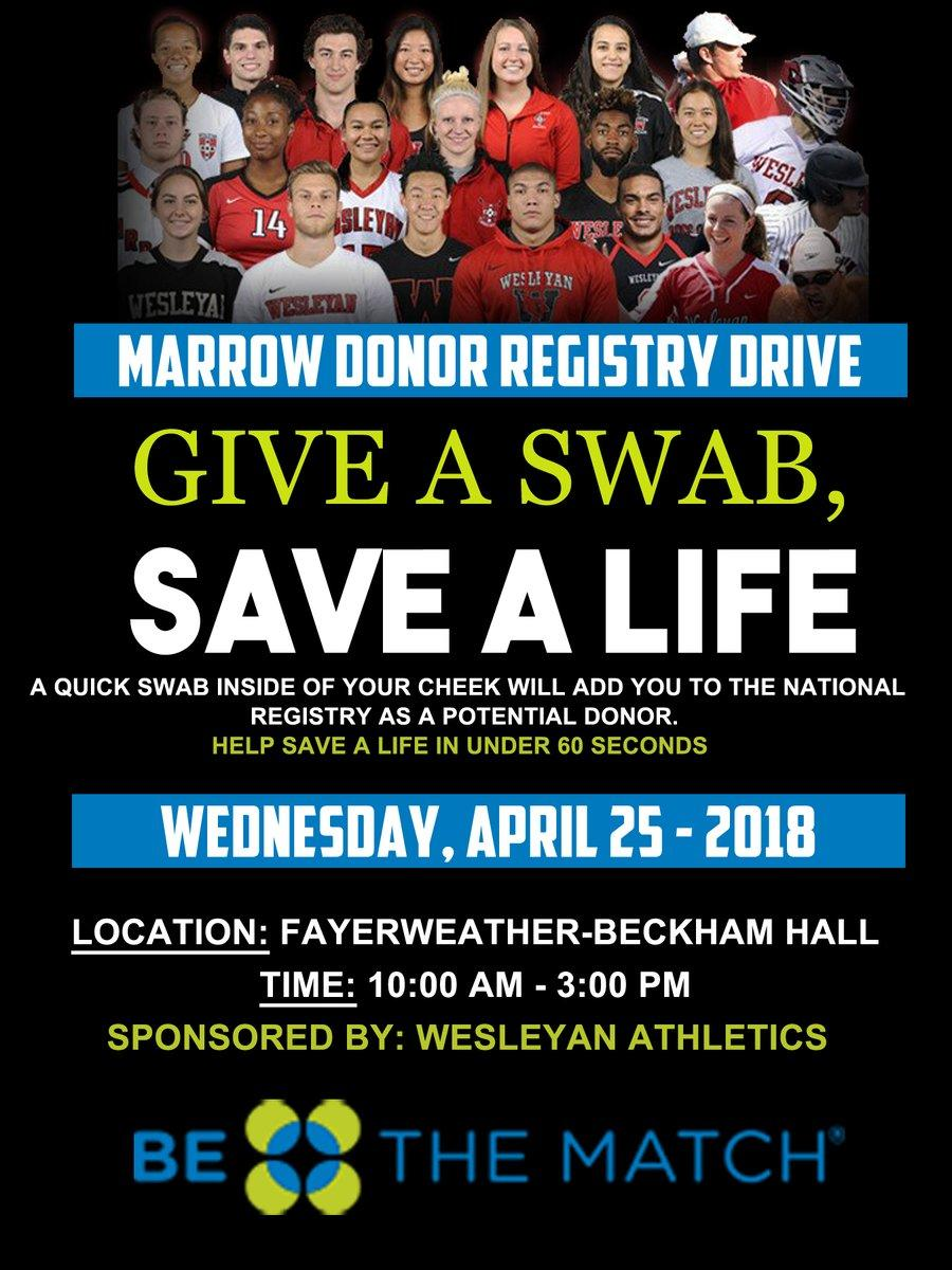 test Twitter Media - Tomorrow, 10am-3pm: Bone Marrow Registry Drive hosted by @Wes_Football for @BeTheMatch! Stop by Fayerweather-Beckham Hall to swab your cheek and join the Bone Marrow Registry. #BeTheMatch https://t.co/j5JAVdHdmH