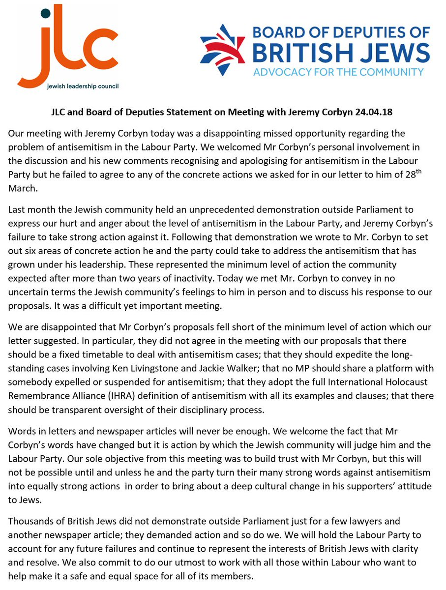 RT @JLC_uk: JLC & @BoardofDeputies statement following our meeting with Jeremy Corbyn https://t.co/RZq8VhBxbB