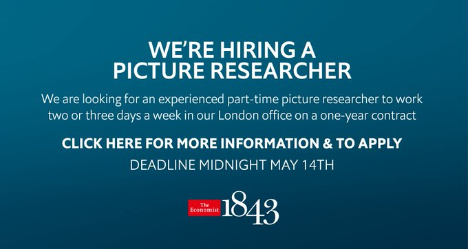 @TheEconomist: The Economist's @1843mag is looking for a part-time picture researcher. Apply here https://t.co/BbVjmosRWz https://t.co/ldZ7ucMn6X