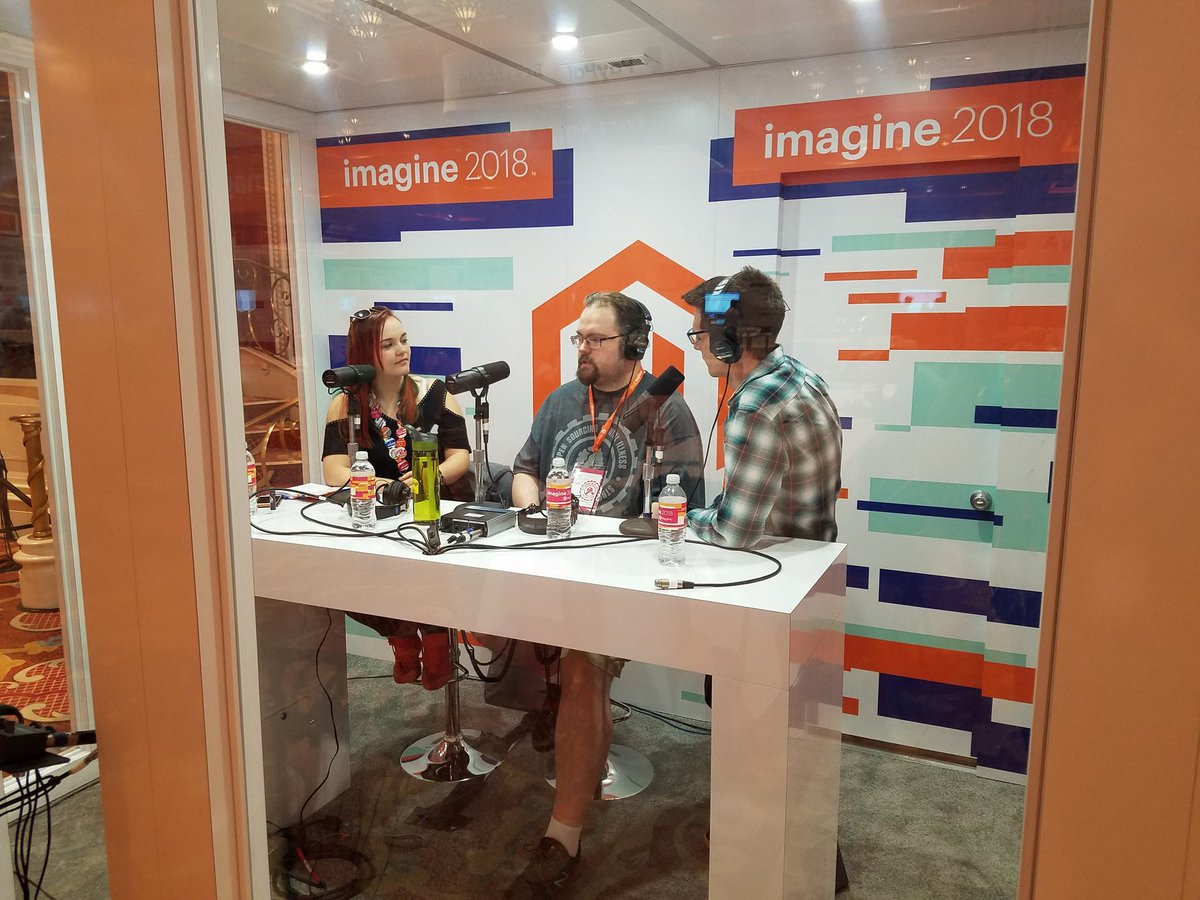 magento: Look who's in the Podcast Booth @RebeccaBrocton @mannersd @JoePFerguson of @OSMIhelp #MageMH #MagentoImagine https://t.co/ziMlwU26x5