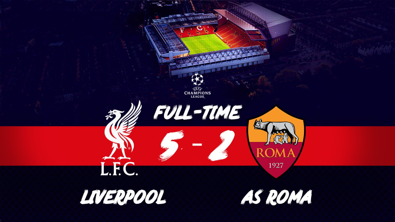 It's half-time in the tie. Another big 90 minutes in Rome await.   Up the Reds! �� https://t.co/LeSwh7tVzl