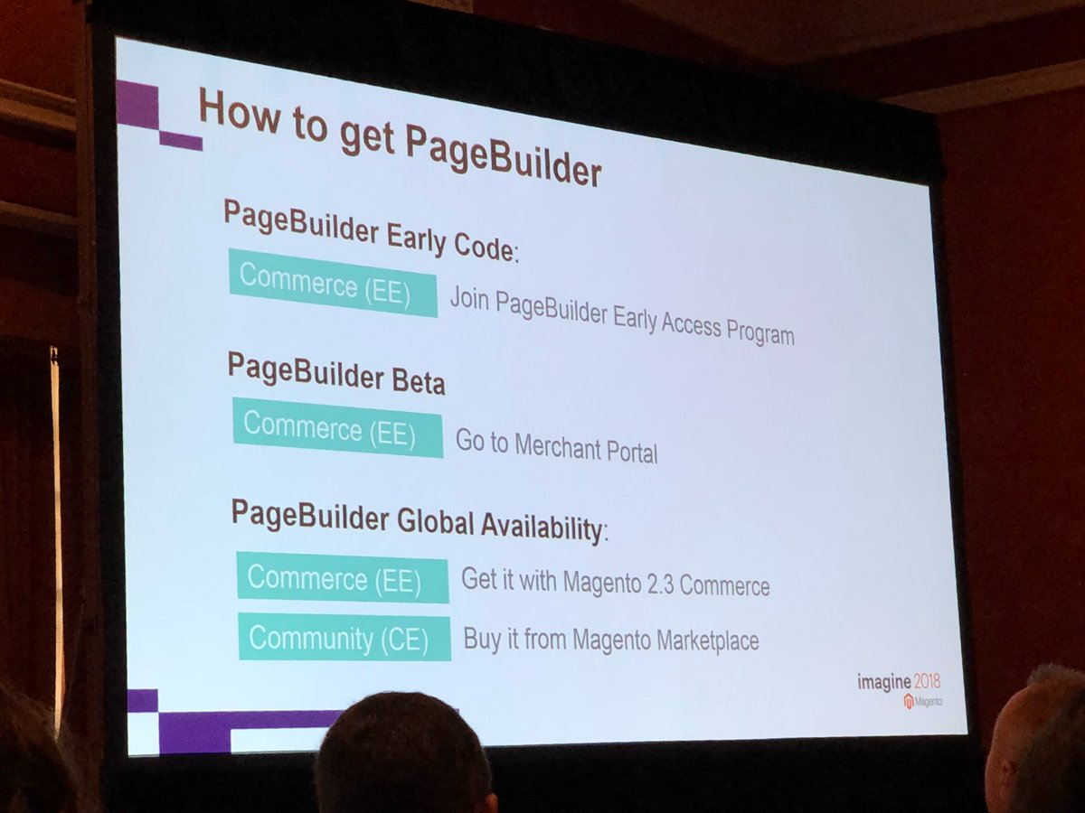 st4nsm: There will be 3 ways to get PageBuilder #MagentoImagine https://t.co/0BFa6I1D2V