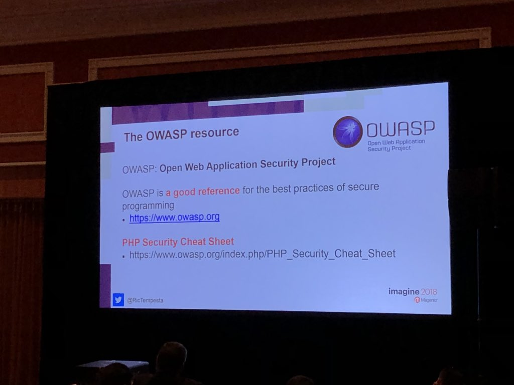 sylvainraye: Some reading to improve your knowledge about preventing security hole via the OWASP project #magentoimagine https://t.co/A52kEozpZS