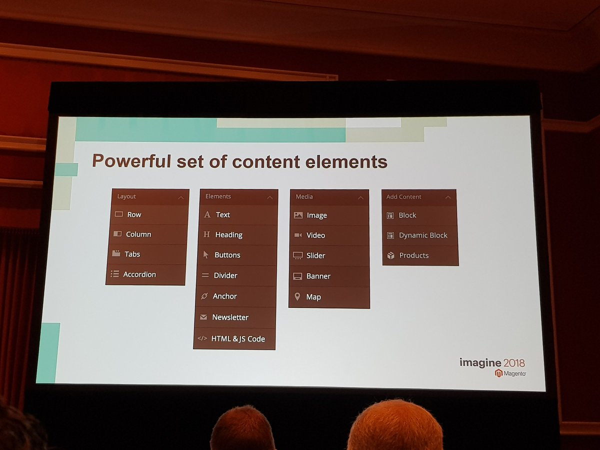 mgeoffray: Magento new Page Builder content elements #MagentoImagine #MagentoImagine2018 #Imagine2018 #Magento https://t.co/GRMJ5cmFAJ
