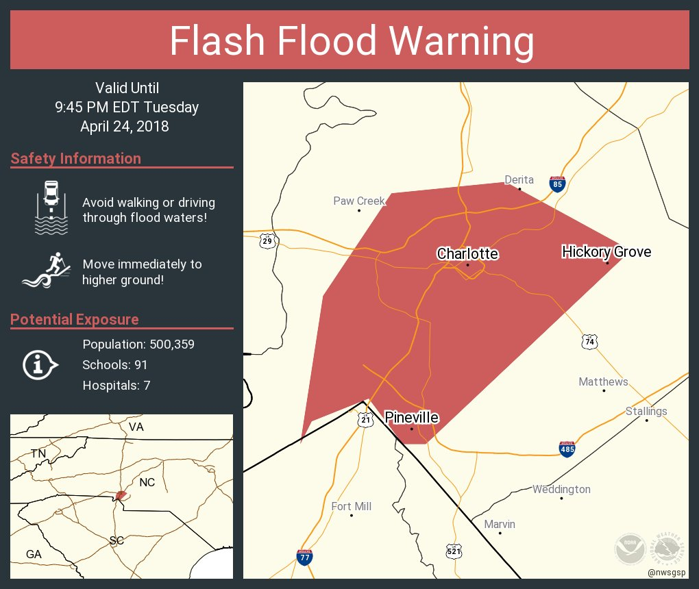 RT @NWSFlashFlood: Flash Flood Warning continues for Charlotte NC, Pineville NC, Hickory Grove NC until 9:45 PM EDT https://t.co/3izCSvSX85