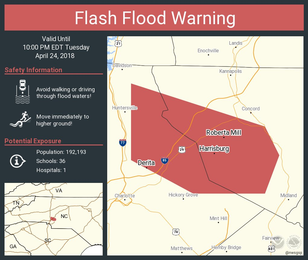 RT @NWSFlashFlood: Flash Flood Warning continues for Harrisburg NC, Derita NC, Roberta Mill NC until 10:00 PM EDT https://t.co/WHtcISeRBw