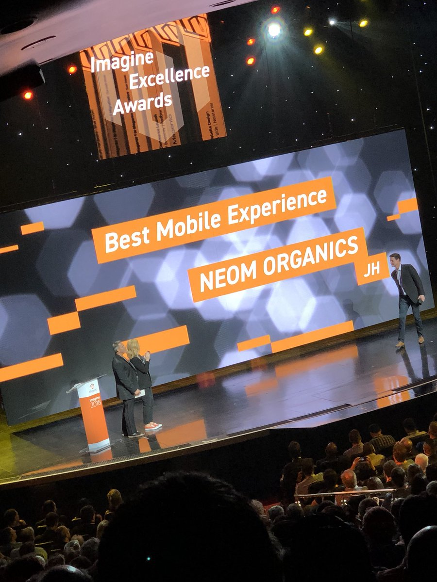 WebShopApps: @jhuskisson with @wearejh - Best mobile Experience #MagentoImagine  - go Jamie and team!! https://t.co/8Dfmwz700Y
