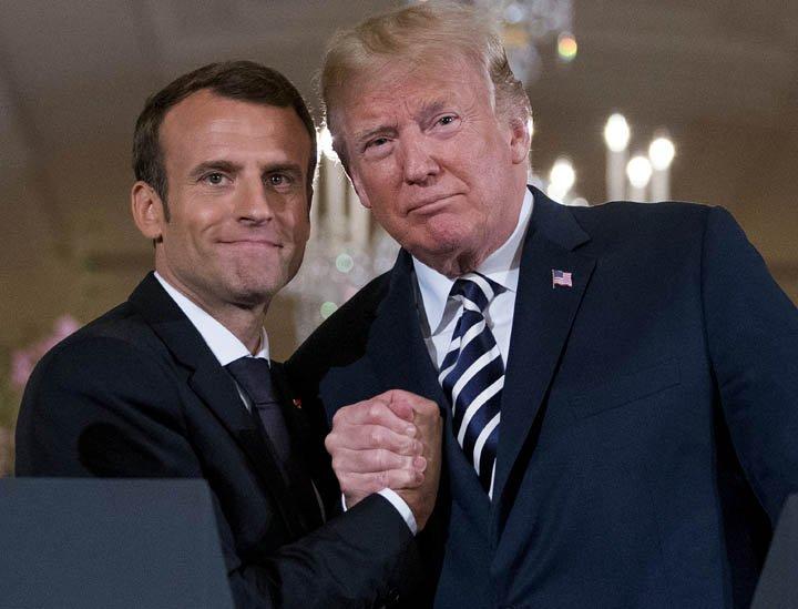 @BroadcastImagem: Trump e Macron defendem revisão de acordo com Irã. Andrew Harnik/AP