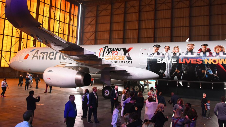 American Airlines unveils @Avengers plane to raise cancer awareness