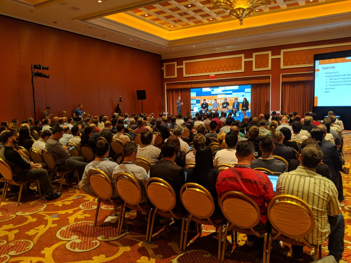 mostlymagic: Packed house looking to learn about #PWAs. #MagentoImagine https://t.co/96EaQBtgio