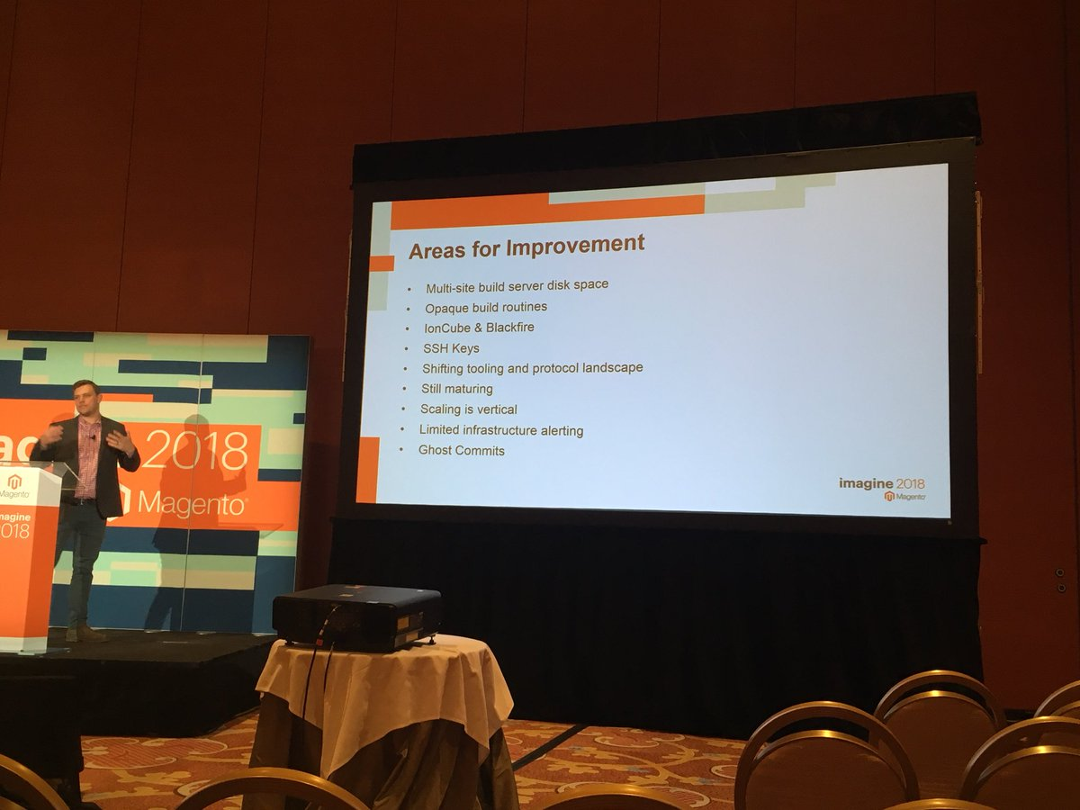 benjaminrobie: Areas for improvement in the Magento Commerce Cloud. @JonTudhope from @SomethingDigitl #MagentoImagine https://t.co/N79OwOzZHe