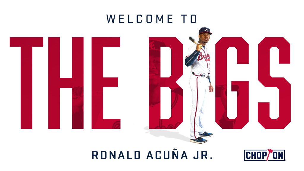 The #Braves selected the contract of OF Ronald Acuña Jr. from Triple-A Gwinnett. Acuña Jr. will wear No. 13. https://t.co/BMkBOHqdjA