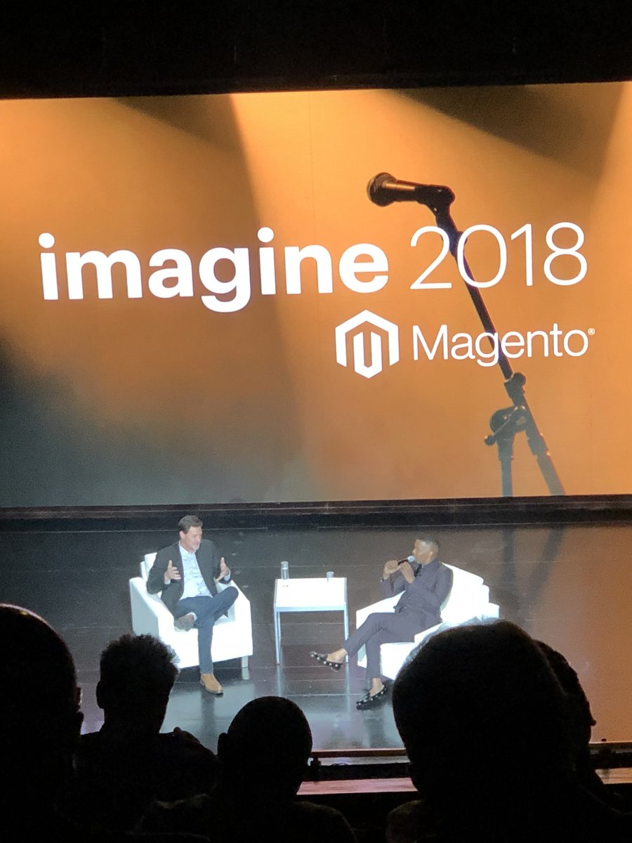 emjean: @magento CEO @mklave1 and Jamie Foxx had great banter last night. Carrying that energy into Day 3! #MagentoImagine https://t.co/R72r5W26wn