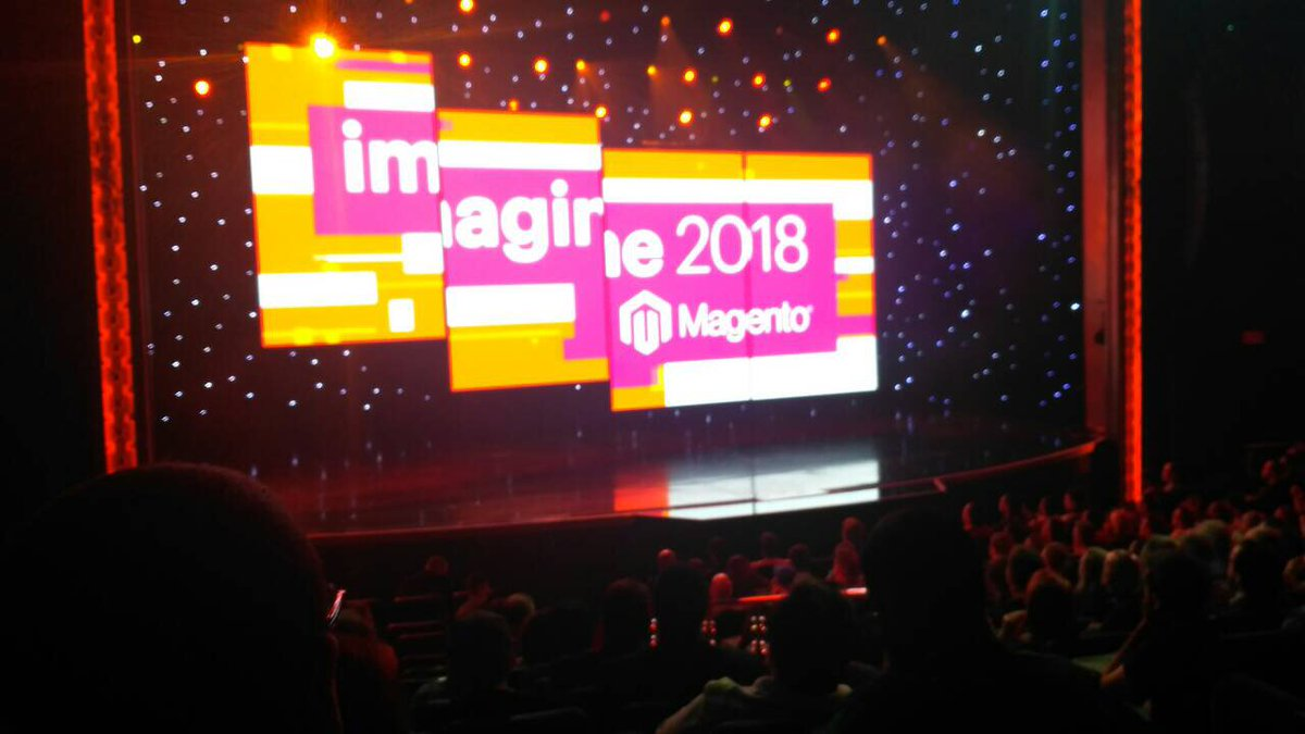 Qamadness: We're pleased to be at the General Session! Amazing moment 😀 #MagentoImagine https://t.co/uqBn3RADzl