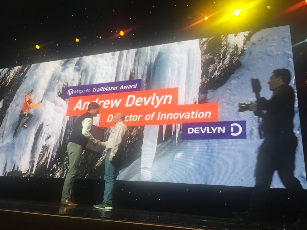 DCKAP: Andrew Devlyn - Trailblazer award winner #MagentoImagine https://t.co/5cGY1WQ8bW