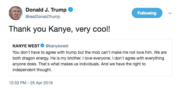 Trump responded to @KanyeWest's support on Wednesday afternoon: