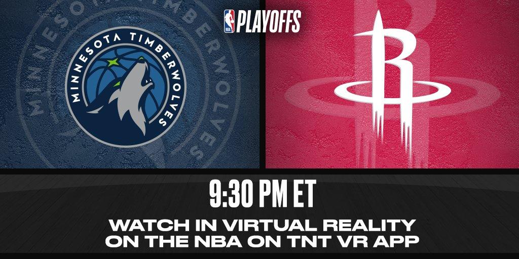 WATCH tonight's @Timberwolves/@HoustonRockets action LIVE with the @NBAonTNT VR app! https://t.co/wjeUxku2SE https://t.co/vR1mrkbPz2