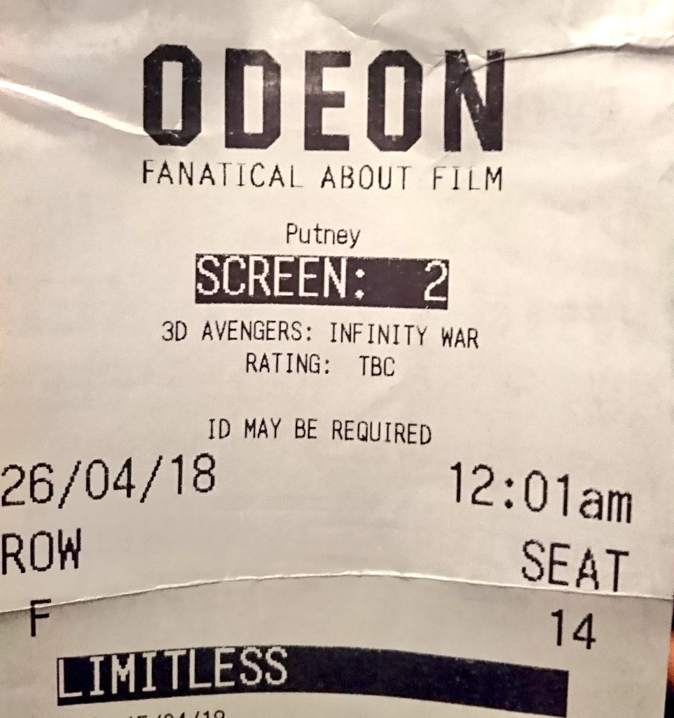 test Twitter Media - I am not as young as I used to be, but I'm here to check out the #InfinityWar @InfinityWarFans @Avengers movie for a 12.01 am screening with the rest of the impatient lot. #odeon @ODEONCinemas #Putney 💤💤💤💤💤 https://t.co/kjqjfK3rW2