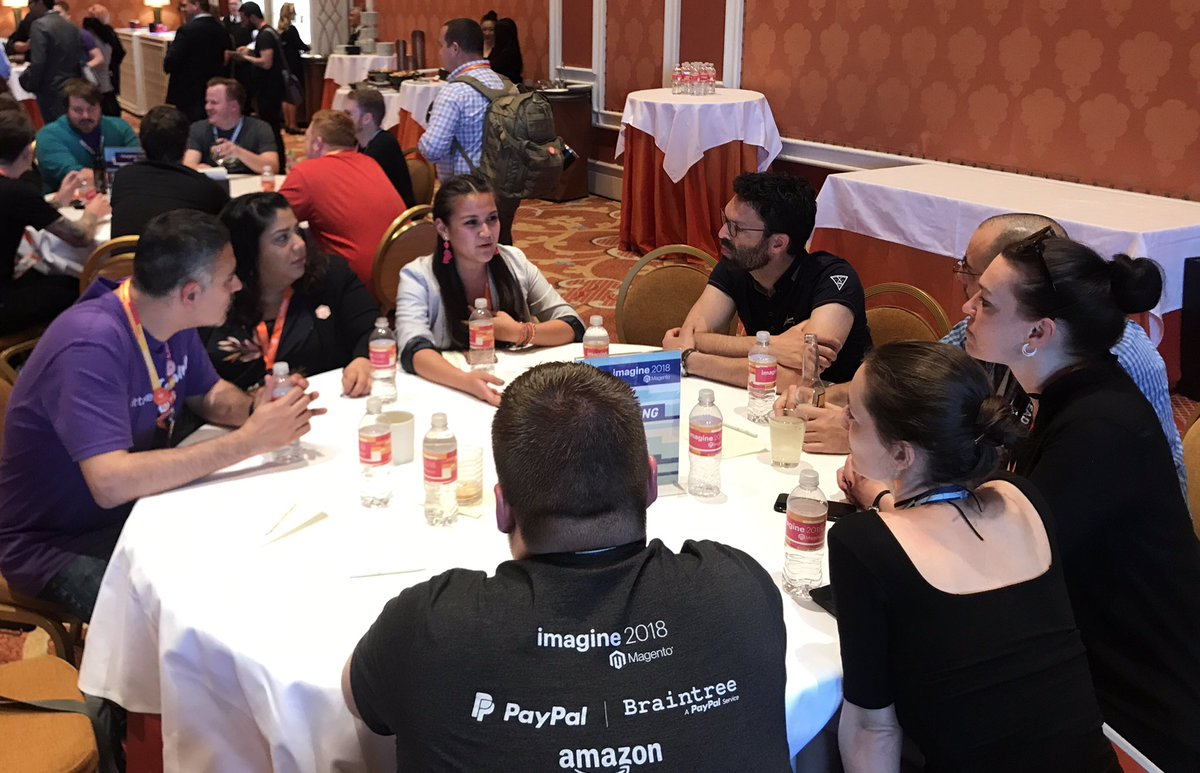 brittanycarnes: #MagentoImagine events team members @jenuhleez and @Yennyontheblock leading a table at DevExchange. #BeTheCommunity https://t.co/duMmBpXdrn