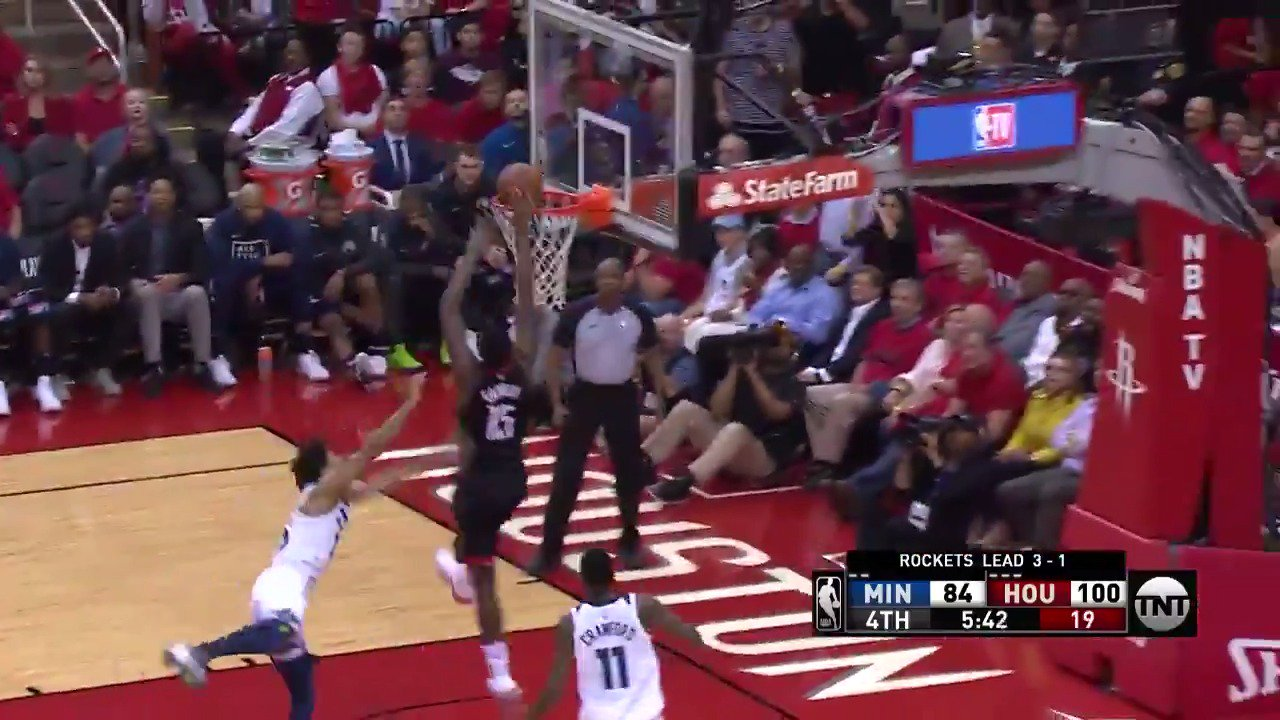 James Harden rewards Clint Capela running the floor!  #Rockets up 108-94 with 3:57 remaining.  ��: @NBAonTNT https://t.co/Z9jubmvTzg