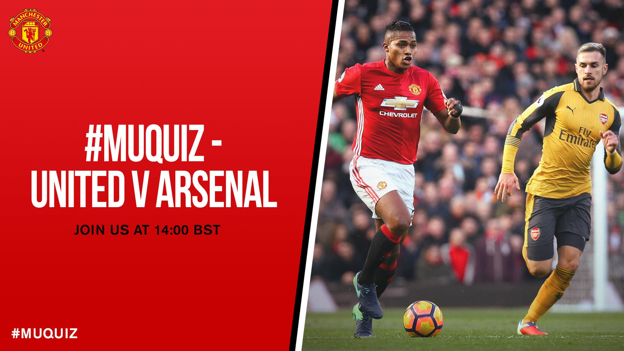 Our #MUquiz on past encounters with Arsenal at Old Trafford is coming up at 14:00 BST - don't miss it! #MUFC https://t.co/xq4Q3GxqNJ