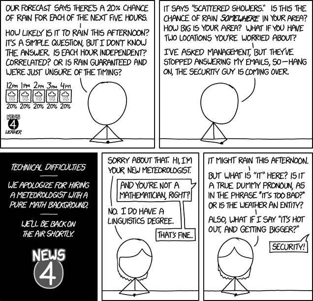 "test Twitter Media - Rain: stochastic processes and dummy pronouns: Today's xkcd: Mouseover title: ""Hi, I'm your new meteorologist and a former software developer. Hey, when we say 12pm, does that mean the hour from 12pm to 1pm, or the hour centered on 12pm? Or is it a… https://t.co/f24tPpMilu https://t.co/nzZPiQDzIa"
