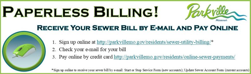 test Twitter Media - Want to go paperless with your @parkvillemo sewer bill? You can receive your bill by e-mail and pay online by credit card. Visit https://t.co/RuJsyEobUY for more information. https://t.co/QxKncOIpLz