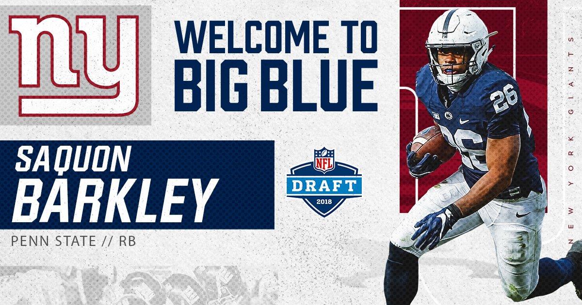 Welcome to the #NYGiants, RB Saquon Barkley!  #GiantsPride #NFLDraft https://t.co/kx7OGsfsvT
