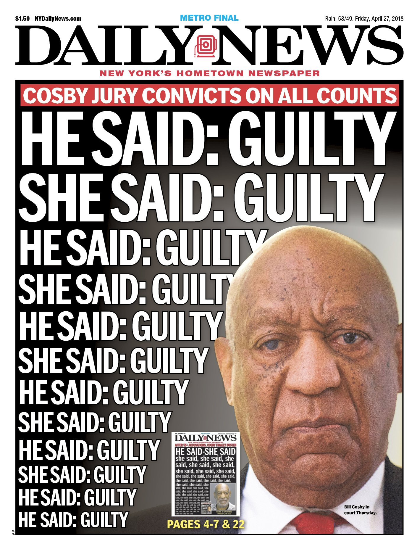 Time's up, @BillCosby. https://t.co/g8qmkznKSd  An early look at Friday's front page... https://t.co/7g96h5DcZ7