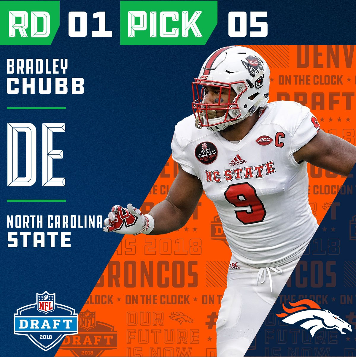 With the #5 overall pick in the 2018 #NFLDraft, the @Broncos select Bradley Chubb (@astronaut)!  ��: NFLN/FOX/ESPN https://t.co/ECxusYmkHC