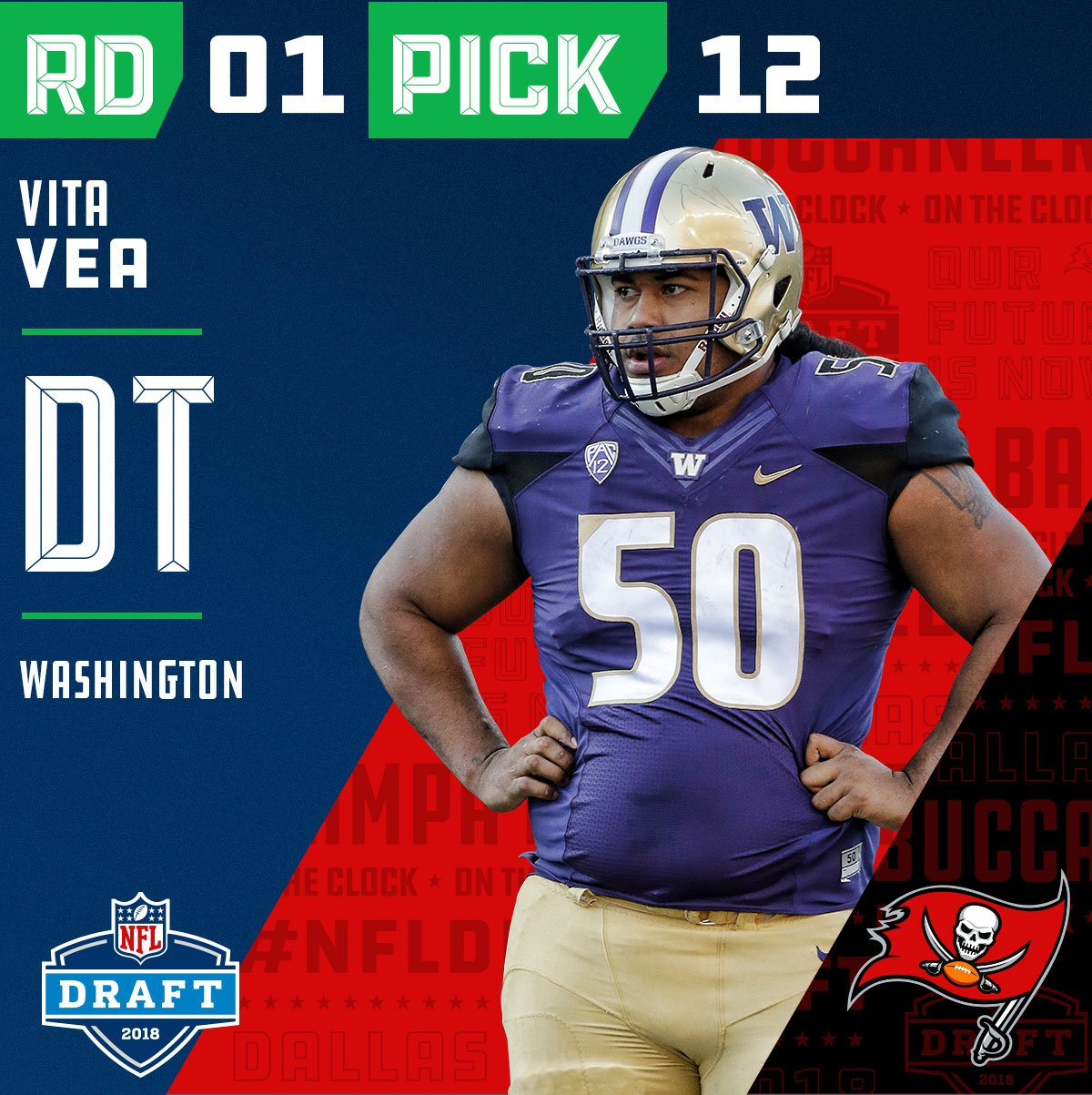 With the #12 overall pick in the 2018 #NFLDraft, the @Buccaneers select #VitaVea (@VitaVea)!   ��: NFLN/FOX/ESPN https://t.co/DxsOfac8l8