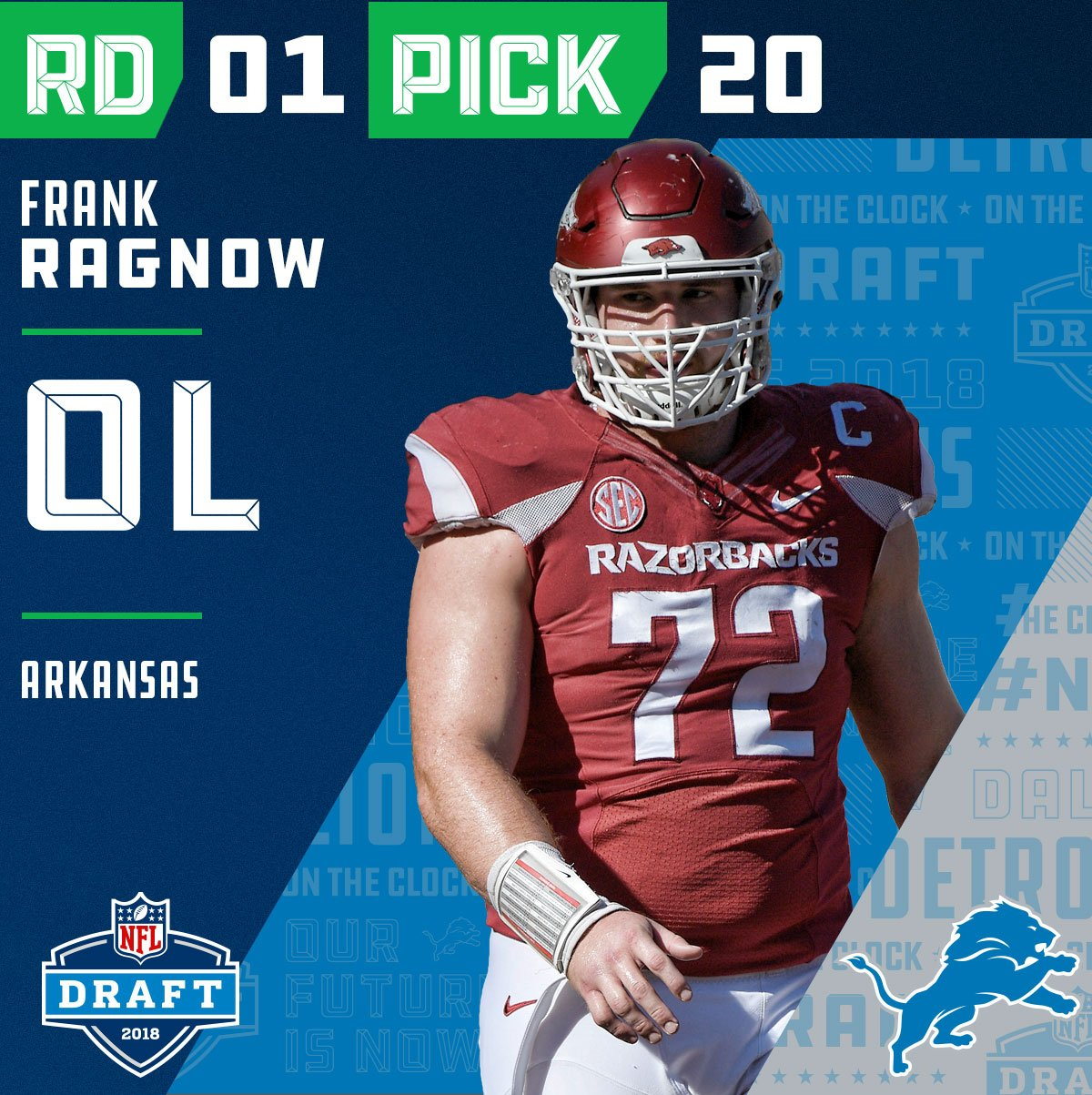 With the #20 overall pick in the 2018 #NFLDraft, the @Lions select #FrankRagnow (@KNARFWONGAR)!  ��: NFLN/FOX/ESPN https://t.co/JkYlTmfx62