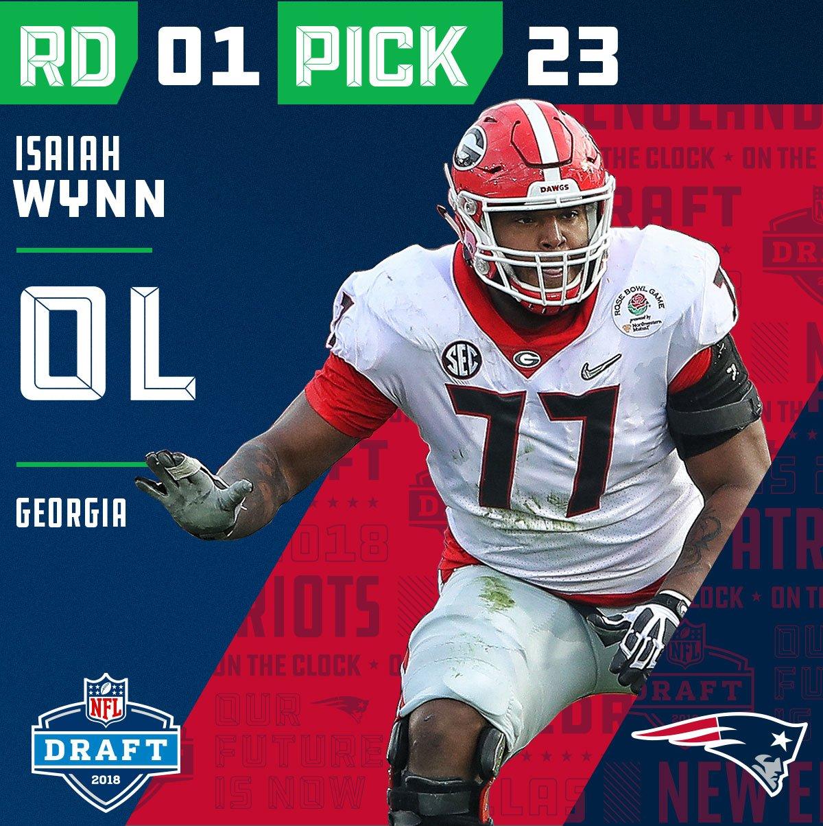 With the #23 overall pick in the 2018 #NFLDraft, the @Patriots select #IsaiahWynn (@iwynn77)!  ��: NFLN/FOX/ESPN https://t.co/JNiXESa33L