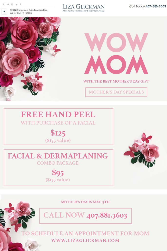 test Twitter Media - WOW Mom this #MothersDay with one of our treatment specials! It's just a little over a week away, don't wait! Call now! 407-881-3603! https://t.co/KuwFtsQxOG