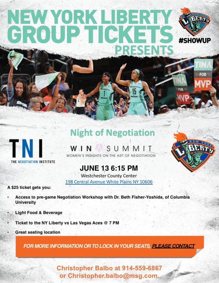 "test Twitter Media - TNI presents: Night of Negotiation with @BethFishYoshida of @Columbia  ""Winging It"" is Not a Strategy; Preparing for Your Negotiation   Westchester County Center, June 13, 6:15 PM.   Pre-game negotiation workshop, & a ticket to @nyliberty vs @lvaces game  #Negotiation #ShowUp https://t.co/H9WZg8z01m"