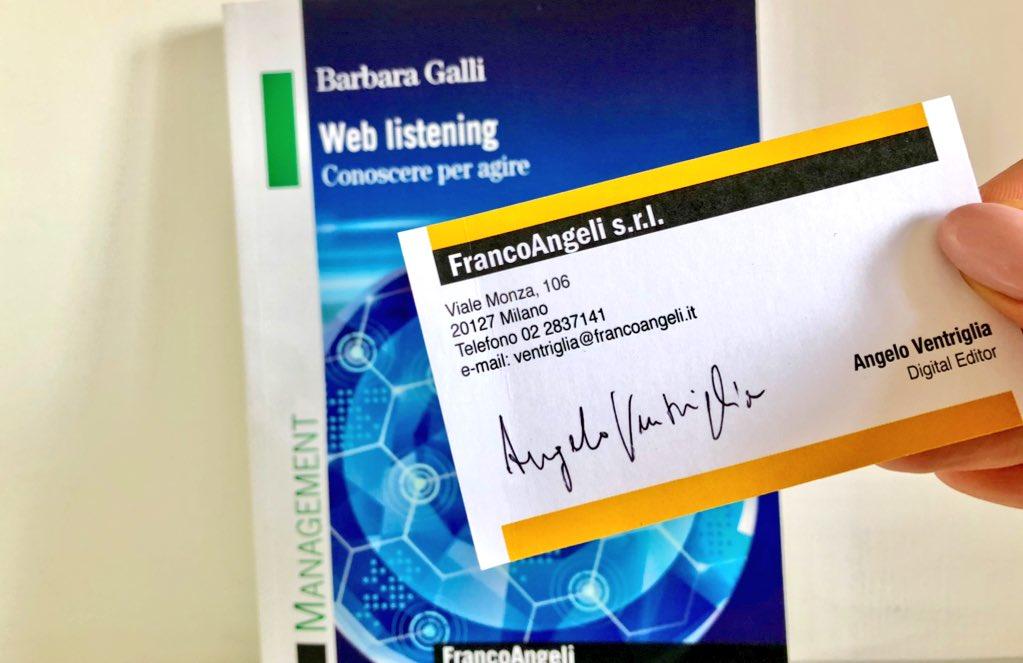 #Consiglidilettura 1: su invito dell'elegante @angloventriglia (è un Digital Editor, non poteva essere diversamente) mi appresto a leggere B. Galli, Web Listening. Grazie a @angeliedizione. https://t.co/SVVJ6wAFwM