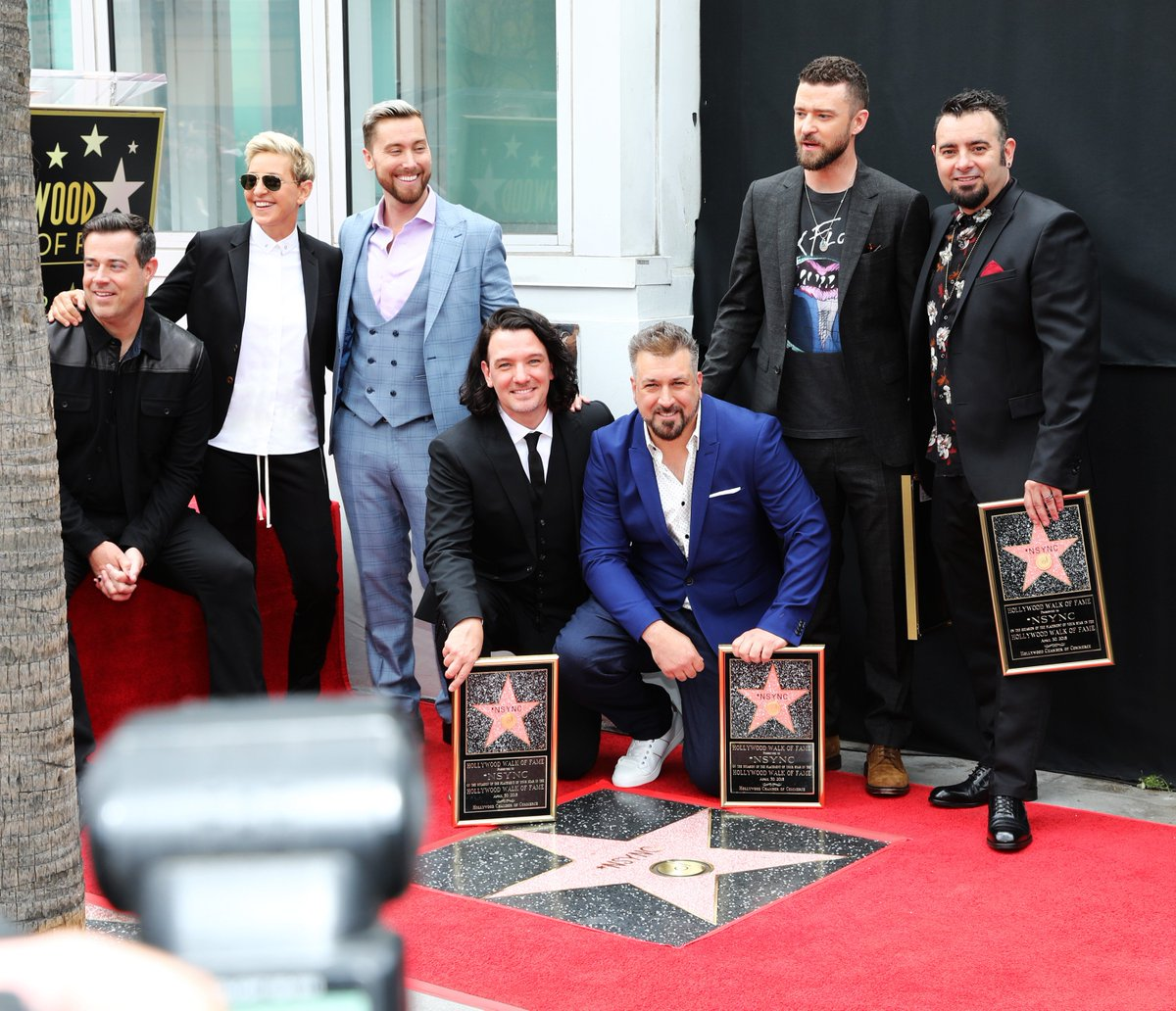 RT @TheEllenShow: Congratulations, @NSYNC! You got a star on the Walk of Fame! All without a vowel. Congratulations! https://t.co/QuRcHPglwP