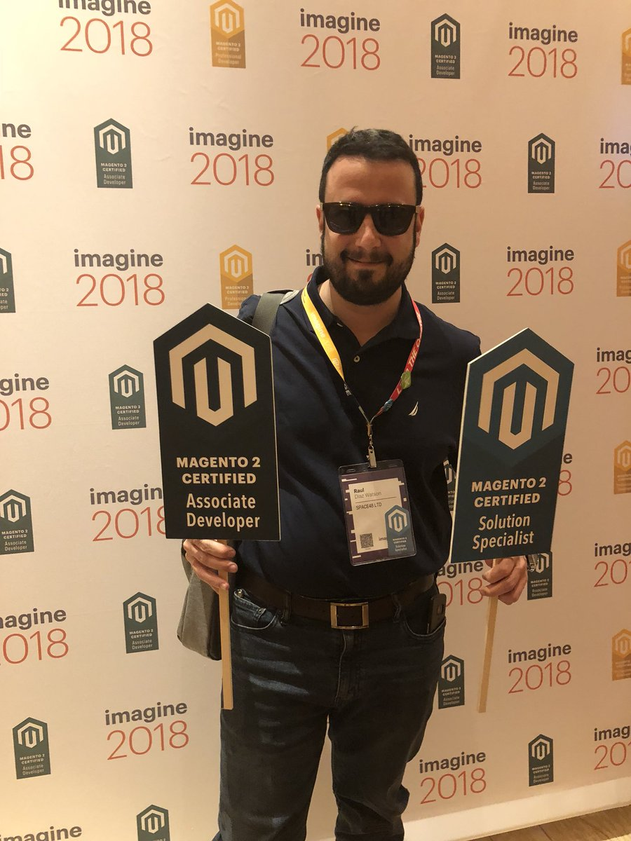 MagentoU: Congrats to Raul Watson on passing two exams at Imagine!! @diazwatson #MagentoImagine https://t.co/voAQJHfkf9