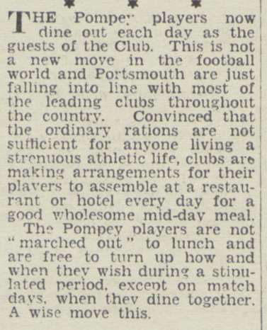 What a great story from 1948! The strictures of rationing, introduced during WW2 and not completely removed until 1954, left top clubs worrying that their players weren't getting enough grub. This was #Pompey's response. #PompeyHistory https://t.co/j2wTknYn64